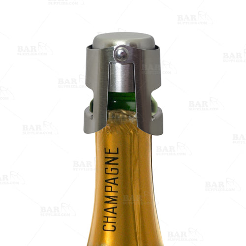 BarConic® Button Style Champagne Stopper - Brushed Stainless Steel