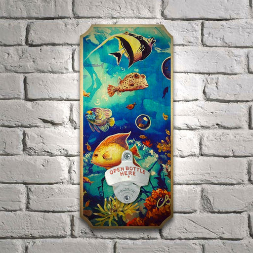 Blue Reef - Wood Plaque Wall Mounted Bottle Opener
