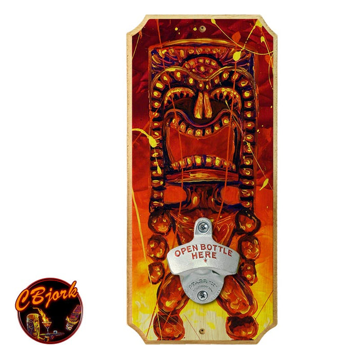Tiki Hot Lava - Wood Plaque Wall Mounted Bottle Opener