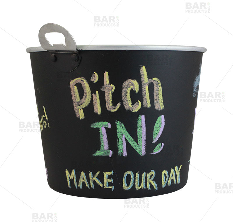 Chalkboard Tip Bucket with Bottle Opener