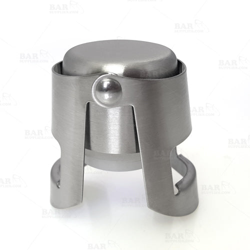 Button Style Champagne Stopper - Brushed Stainless Steel