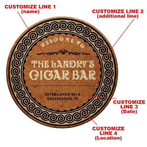 CUSTOMIZABLE Wooden Table Top - Cigar Bar Design - Two Sizes Available