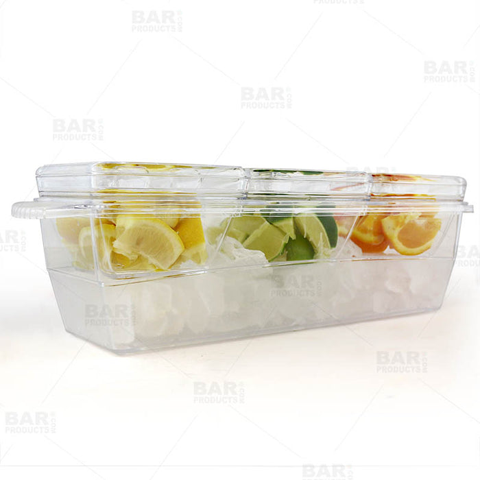 Plastic Condiment and Garnish Caddy - 3 inserts w/ Lids
