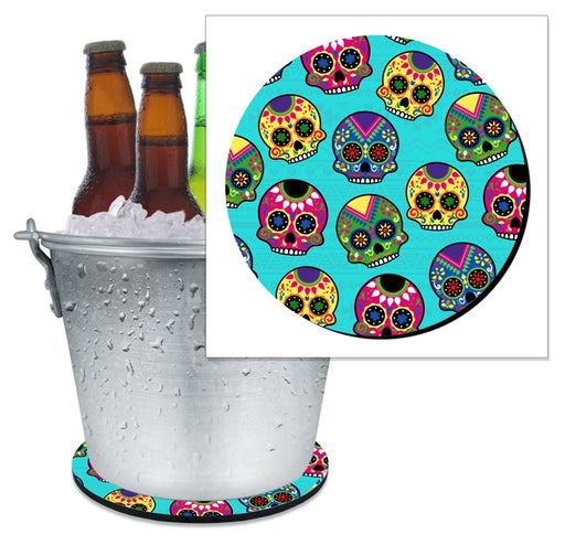 Beer Bucket Coaster - Sugar Skulls (Serveral Colors Available)