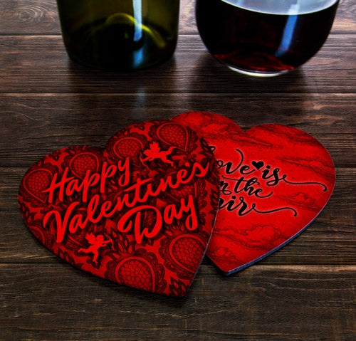 Valentine's Day Theme - Heart Shaped Cork Bottom Coasters