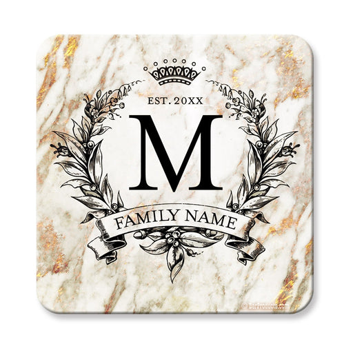 Marble Monogram - CUSTOMIZABLE Cork Bottom Coaster