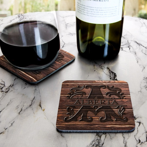 Wood Monogram Letter - CUSTOMIZABLE Cork Bottom Coaster