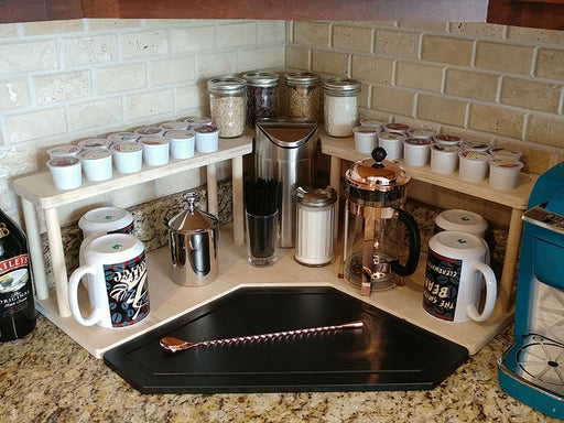 Counter Caddies™ - NATURAL - CORNER Shelf w/ K-CUP Holes & Trash Can Inset