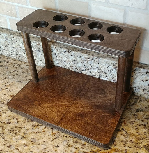 "Counter Caddies™ - STAINED Finish - 12"" STRAIGHT Shelf w/ K-Cup Holes"