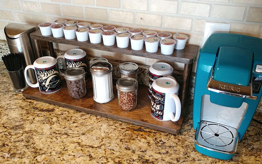 "Counter Caddies™ - STAINED Finish - 24"" STRAIGHT Shelf w/ K-Cup Holes"