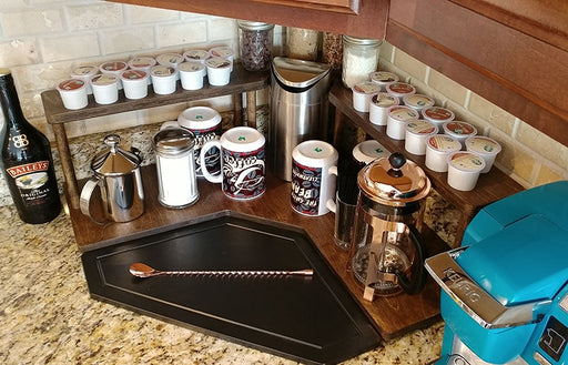 Counter Caddies™ - Stained Finish - CORNER Shelf w/ K-CUP Holes & Trash Can Inset