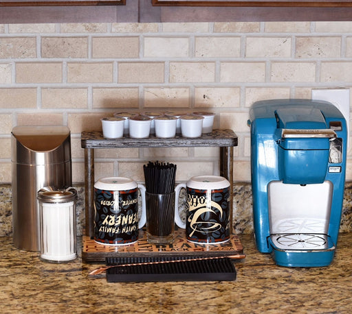 "Counter Caddies™ - BARISTA Theme - 12"" STRAIGHT Shelf w/ K-Cup Holes"