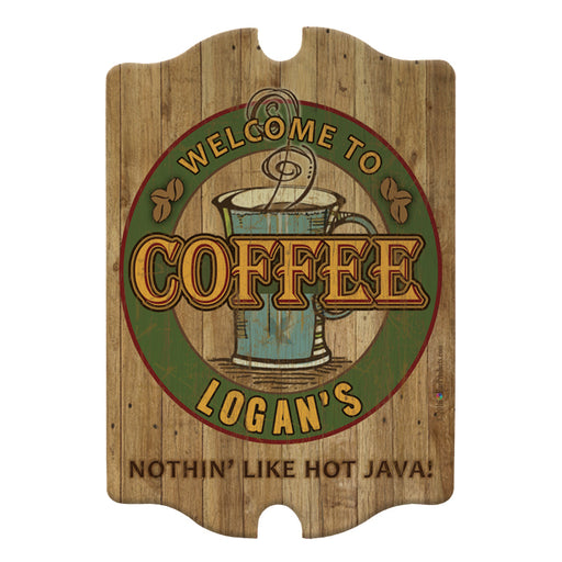 Custom Tavern Shaped Wood Bar Sign - Coffee