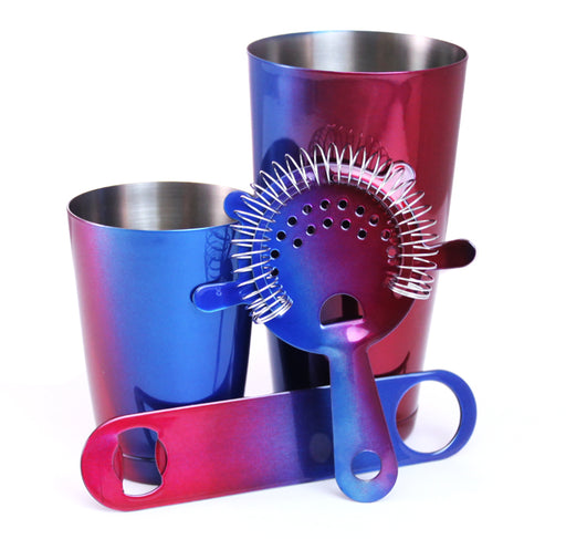 4 Piece Blue and Red Color Fusion Bar Tools Set with Speed Bottle Opener