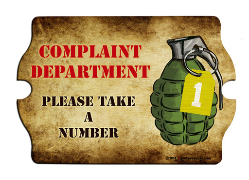 Complaint Department Wood Bar Sign Tavern-Shaped