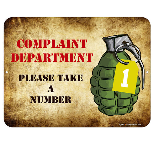 Complaint Department Kolorcoat™ Metal Bar Sign