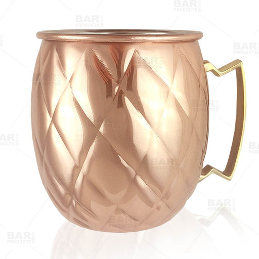 Copper Plated Diamond Moscow Mule Mug - 18oz
