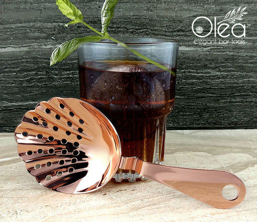Olea™ Shell Julep Cocktail Strainer - Copper Plated