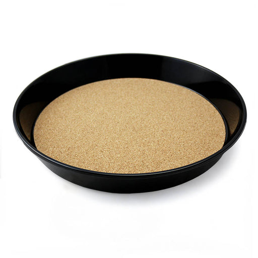 "Black Serving Tray - Cork Lined - 13"" diameter"