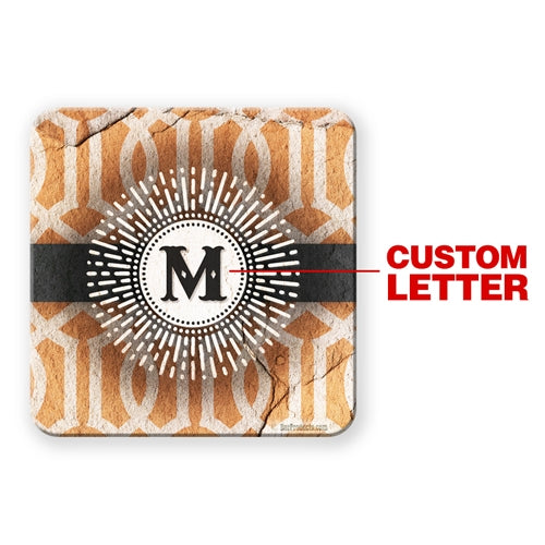 Sunburst Monogram - CUSTOMIZABLE Cork Bottom Coaster