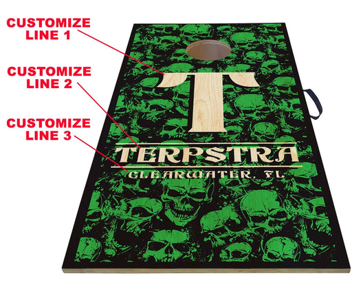 "CUSTOMIZABLE Cornhole Game Boards - SKULLS -  Color Options - 22"" x 44"""