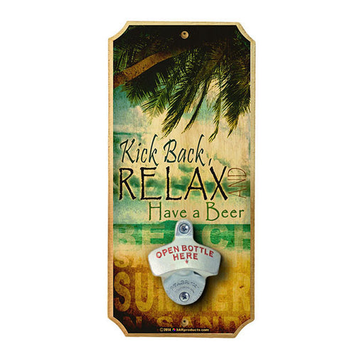 RELAX - Wall Mounted Wood Plaque Bottle Opener
