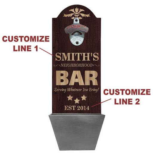 Custom Round Top Plaque with Cap Catcher - Neighborhood Bar