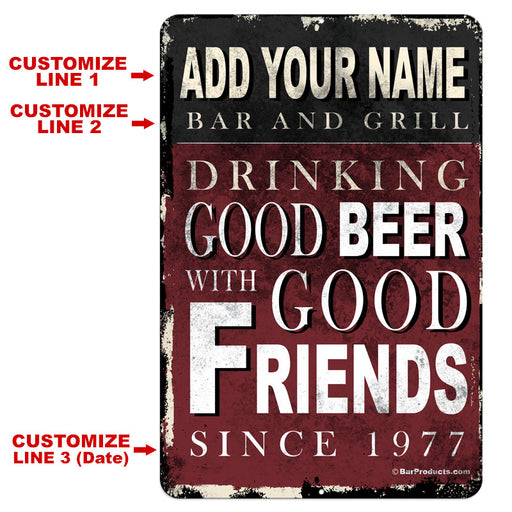 "CUSTOMIZABLE Vintage Metal Bar Sign - 12"" x 18"" - Bar and Grill"