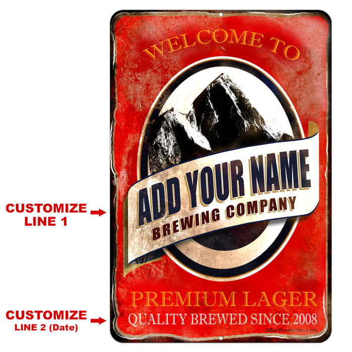"CUSTOMIZABLE Vintage Metal Bar Sign - 12"" x 18"" - Brewing Company (Red)"