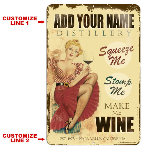 "CUSTOMIZABLE Vintage Metal Bar Sign - 12"" x 18"" - Wine Distillery"