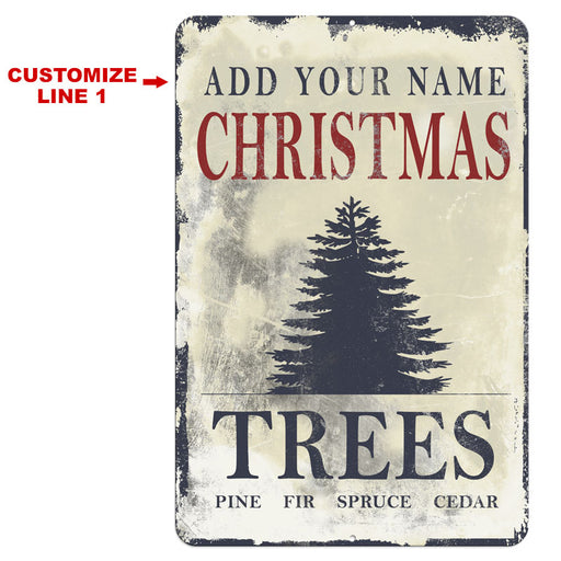 "CUSTOMIZABLE Vintage Metal Bar Sign - 12"" x 18"" - Christmas Tree"