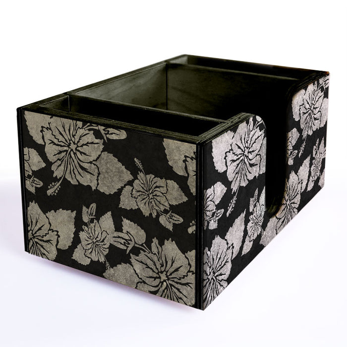 Wooden Bar Caddy - Rustic Hibiscus - Black