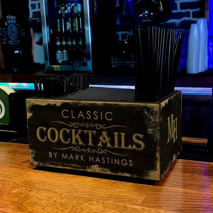 Customizable Wooden Bar Caddy - Classic Cocktails