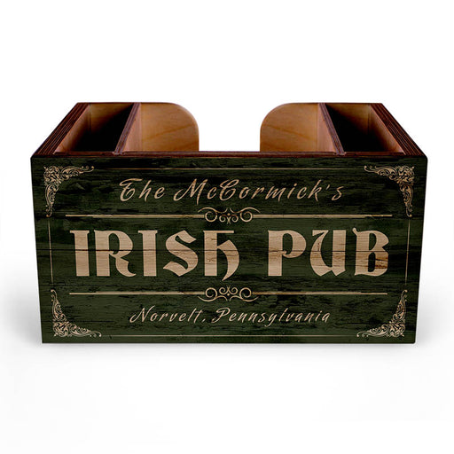 Customizable Wooden Bar Caddy - Irish Pub