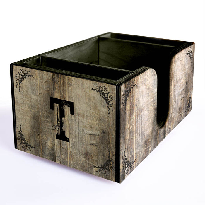 Customizable Wooden Bar Caddy - Rustic Tree