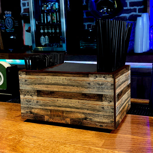 Wooden Bar Caddy - Rustic Wood Planks