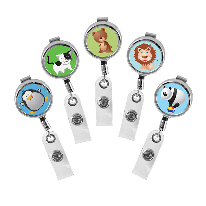 Cute Animals Series Mini Chrome ID Badge Reel
