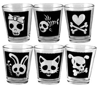 Printed Shot Glasses - Cutsey Skulls - 1.75 ounce