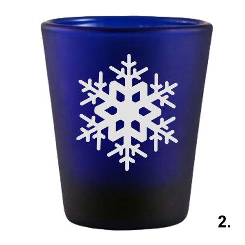 Blue Shot Glass - Snowflakes 2