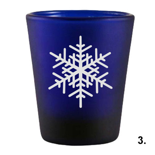Blue Shot Glass - Snowflakes 3