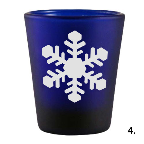 Blue Shot Glass - Snowflakes 4