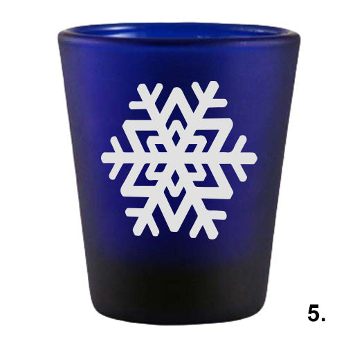 Blue Shot Glass - Snowflakes 5
