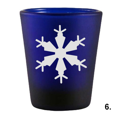 Blue Shot Glass - Snowflakes 6
