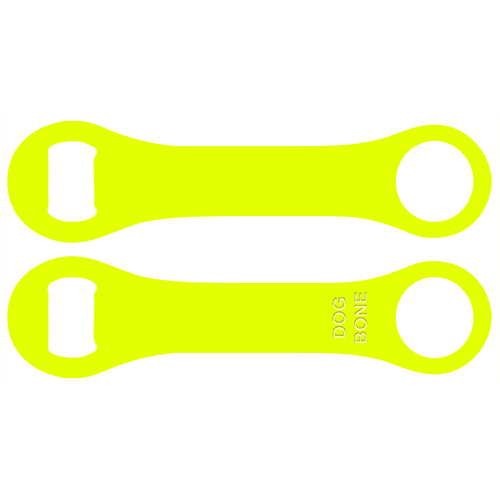 Kolorcoat™ Dog Bone Bottle Opener - Neon Yellow