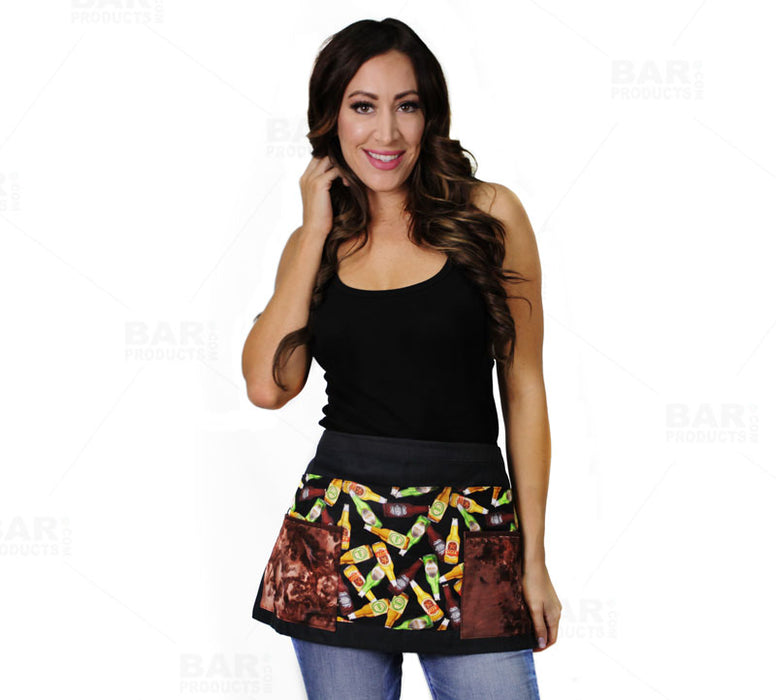 Designer Apron - Beer Patchwork Pattern - 5 Compartment