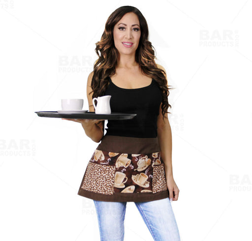 Designer Apron - Barista Patchwork Pattern - 5 Compartment