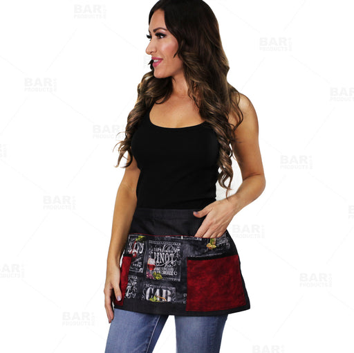 Designer Apron - Wine Patchwork Pattern - 5 Compartment