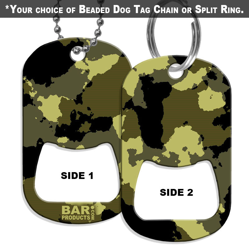 Dog Tag Opener - Black and Yellow Grunge CAMO