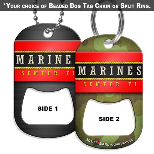 Dog Tag Bottle Opener - Military Line - Marines