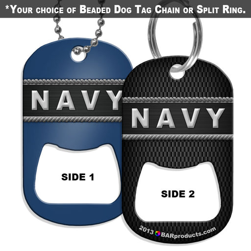 Dog Tag Bottle Opener - Military Line - Navy